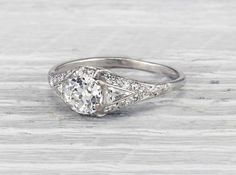 1.04 Carat Early Art Deco Shreve & Co. Engagement Ring