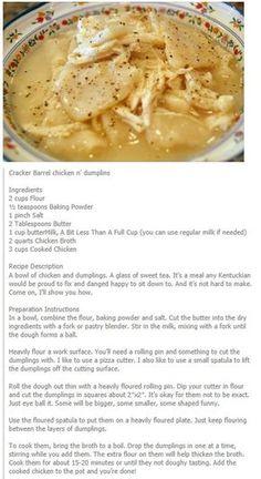Cracker Barrel's Chicken n' Dumplings