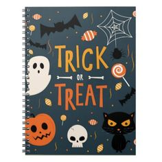 Trick or Treat Halloween Notebook - kids kid child gift idea diy personalize design