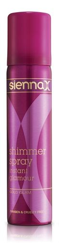 Sienna X Gold Shimmer Spray £4.95. Buy now at www.faceandbodyco.com and earn points towards treatments with every purchase!