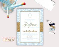 Damask Baptism Invitation; blue boy Christening, catholic baptism; blue and gold glitter baptism invitation, Bautizo, printable diy