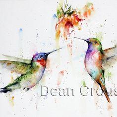 HUMMINGBIRD PAIR Watercolor Print by Dean by DeanCrouserArt