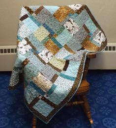 Handmade Baby or Child Quilt Boy or Girl, Nap Quilt for Toddler, Teal and Brown Quilt by quiltsbyelsie on Etsy