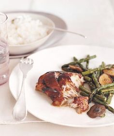 Glazed Cod With Asparagus and Mushrooms recipe