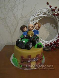 Doces Opções: O avô vai de trator com os netos Birthday Cake, Desserts, Grandchildren, Sweets, Cake, Kitchen, Agriculture, Tailgate Desserts, Deserts