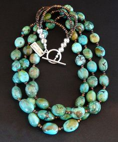 Turquoise Oval Three-Strand Necklace with Bone Rounds and Handcrafted Sterling Silver