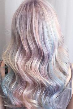 Stylish Opal Hair Color Ideas 2018 Beauty Trend for Women Hair Color 2017, Cool Hair Color, Hair Colour, Creative Hairstyles, Cool Hairstyles, Unicorn Hair Color, Opal Hair, Bright Hair, Coloured Hair