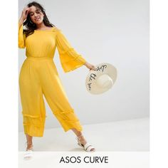 ASOS CURVE Cold Shoulder Jumpsuit in Crinkle with Frill Detail ($49) ❤ liked on Polyvore featuring jumpsuits, plus size, yellow, stretch jumpsuit, cold shoulder jumpsuit, maxi jumpsuit, asos curve and tall jumpsuit