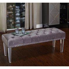 Simple Living Leona Bench with Acrylic Legs | Overstock.com Shopping - The Best Deals on Benches
