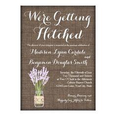 Cute burlap, lavender, country chic wedding invitation