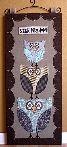 Cute owl wall hanging!  This page no longer exists...  But I find this a cute inspiration for a painting...  Maybe with a bible verse on wisdom