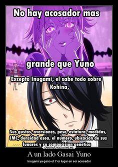 carteles anime acosadores yuno mirainikki gugurekokkurisan inugami desmotivaciones