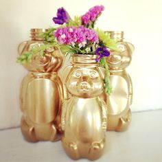 "Look at this adorable family of honey bears — doesn't it remind you of ""The Story of the Three Bears""? Upcycle your empty honey bear bottles, and turn them into your new favorite multifunctional decor piece. Photo: Sarah Lipoff"