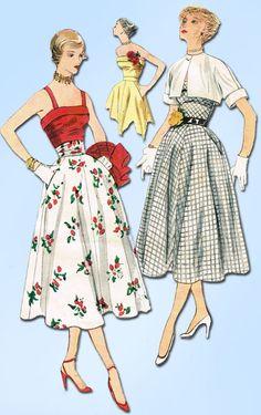 1950s Vintage Simplicity Sewing Pattern 3265 Uncut Misses Sun Dress & Bolero 30B #Simplicity #1950sSkirtandTopPattern