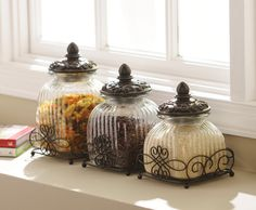 This set of Loop Glass Canisters are great kitchen accessories! Store the ingredients you use the most or your favorite snacks in these stylish canisters. They help you stay organized and add a stylish flair! Glass Kitchen, Kitchen Decor, Kitchen Design, Glass Canisters, Kitchen Canisters, Kitchenware, Tableware, Kitchen Drawing, Mediterranean Home Decor