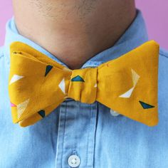 Our Bow Tie sewing kit in gold.   Kit comes with everything you need to make this dapper bow tie for just £18!