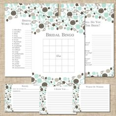 Printable Bridal Shower Party Games, DIY, Made To Match Wedding Paper Divas Garden Gowned Sea Glass, Bingo, Note Card, Recipe Cards. $15.00, via Etsy.