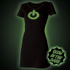 Glow in the dark Power Button T-Shirt Dress by Block Clothing http://www.glow.clothing/Product.php?Sku=20247