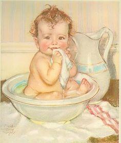 vintage baby bath
