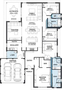 Such a good layout. Ideal for my 3 children, my daughter would have her private . - Floor Plan Addict - Such a good layout. Ideal for my 3 children, my daughter would have her private space in the guest - Best House Plans, Dream House Plans, House Floor Plans, The Plan, How To Plan, House Layout Plans, House Layouts, Building Plans, Building A House