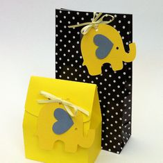 Yellow Elephant Baby Shower gift tags. Baby shower, gifts, first birthday. Treats, favors, gift bags. Flowers, spots, chevron. Yellow & gray