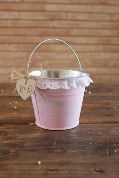 personalized pink flower girl bucket . small rustic country barn wedding flower girl basket pail by montanasnow, $20.00