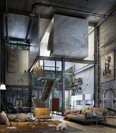 "Gefällt 38.7 Tsd. Mal, 286 Kommentare -  Art & Architecture Magazine (@modern.architect) auf Instagram: ""Yes or No? Industrial Loft visualized by Rogelio Isai,  #Mexico"""