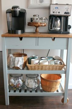 DIY Coffee Bar Cart perfect for a small space and for guests to self serve coffee! An easy coffee lover IKEA hack makeover!