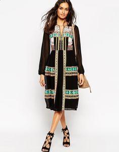 ASOS Premium Folk Midi Dress with Mirror Embroidery