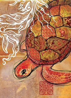 «baby sea turtle- mixed media» de Narelle Craven | Redbubble