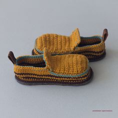 Babies House Shoes in mustard yellow and brown by leninka on Etsy