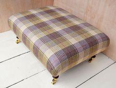 New Large Footstool in 100% Wool Tartan Tweed. 21 FABRICS TO CHOOSE FROM!!!!