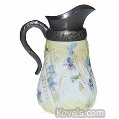 Antique Mt. Washington Creamer, Colonial ware, violets, ferns, cream ground | Kovels.com