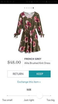 I love the color combination on this dress and the tie detail on the sleeves. This would look super cute with a pair of booties in fall. Stitch Fix Dress, French Grey, Printed Jumpsuit, Clothes Horse, Work Clothes, Gray Dress, Knit Dress, Style Me, Cute Outfits