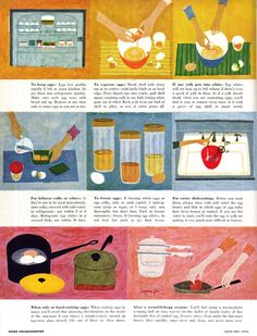 Good Housekeeping Illustrated by Lorraine Fox January 1954 History Of Illustration, Children's Book Illustration, Food Illustrations, Recipe Drawing, Food Doodles, Vintage Cooking, Vintage Cookbooks, Website Design Inspiration, Good Housekeeping