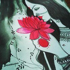 Ink, Photo And Video, Journalling, Disney Princess, Canvas, Krishna, Disney Characters, Paper Flowers, Sketching