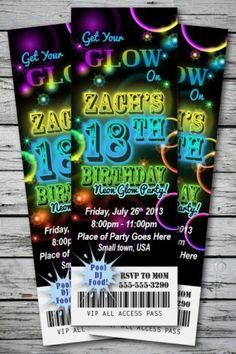 Neon Glow Birthday Party Invitation Ticket Stub in The Dark Bracelet Necklace | eBay