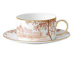 Tasse palladian porcelaine de chine, blanc et orange - Ø9 Wedgwood
