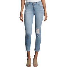 Dl1961 Premium Denim Farrow Instaslim High-Rise Skinny Ankle Jeans... ($208) ❤ liked on Polyvore featuring jeans, indigo, super high-waisted skinny jeans, high waisted skinny jeans, high waisted ripped jeans, cropped skinny jeans and destructed skinny jeans