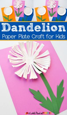 """Kids can make a pretty paper plate dandelion craft that will """"poof"""" right off the page as they practice scissor skills this summer."""