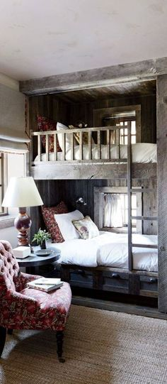 Rustic Bedroom Design Ideas - pictured: The bunk room of a Big Sky, Montana, lodge is partially sheathed in reclaimed corral boards. Markham Roberts Design : canadianloghomes --- pp: love the built-in bunkbeds.each has its own window for daydreaming. Home, Home Bedroom, Rustic Bunk Beds, House Interior, Cottage Interiors, Bed, Small Bedroom, Bedroom, Rustic Bedroom