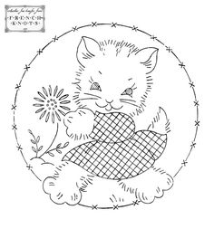 Adorable Kitten Vintage Embroidery Transfer Pattern