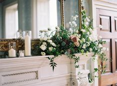 Mantel arrangement by Ruby & The Wolf, image by Taylor & Porter