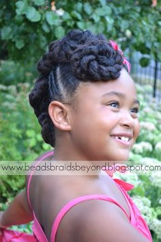 Beads, Braids and Beyond: Natural Hair Updo: Twisted Cinnabuns with Cornrows