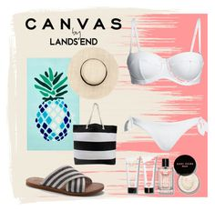 """Paint Your Look With Canvas by Lands' End: Contest Entry"" by tally-stew ❤ liked on Polyvore featuring Lands' End, Canvas by Lands' End, Matouk and Bobbi Brown Cosmetics"