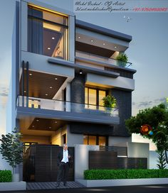 Discover recipes, home ideas, style inspiration and other ideas to try. Modern Exterior House Designs, Best Modern House Design, Modern House Facades, Modern Bungalow House, Modern Villa Design, 3 Storey House Design, Bungalow House Design, House Front Design, Art Et Architecture