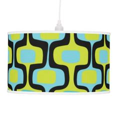 Aqua and Chartreuse Mid-Century Modern Pattern Hanging Lamp