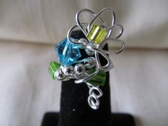 Handmade For You Wirework Silver Blue by JewelsHandmadeForYou