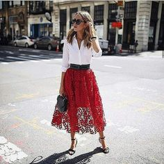 Red long skirt outfits with high waist