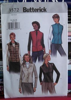 2002 Butterick Sewing Pattern 3572-Size 14-16-18-Misses' Fitted, Lined, Above Hip Jacket or Vest w Collar Variations-Princess Seams-UNCUT by PaperDiversities on Etsy